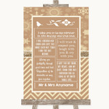 Brown Winter Romantic Vows Customised Wedding Sign