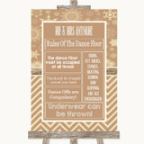 Brown Winter Rules Of The Dance Floor Customised Wedding Sign