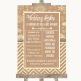 Brown Winter Rules Of The Wedding Customised Wedding Sign