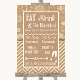 Brown Winter Signature Favourite Drinks Customised Wedding Sign