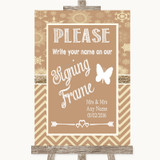 Brown Winter Signing Frame Guestbook Customised Wedding Sign