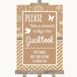 Brown Winter Take A Moment To Sign Our Guest Book Customised Wedding Sign