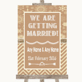 Brown Winter We Are Getting Married Customised Wedding Sign