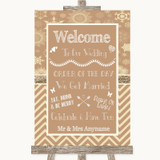 Brown Winter Welcome Order Of The Day Customised Wedding Sign