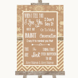 Brown Winter When I Tell You I Love You Customised Wedding Sign