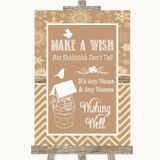 Brown Winter Wishing Well Message Customised Wedding Sign