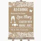 Burlap & Lace Alcohol Bar Love Story Customised Wedding Sign