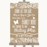 Burlap & Lace All Family No Seating Plan Customised Wedding Sign