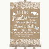 Burlap & Lace As Families Become One Seating Plan Customised Wedding Sign