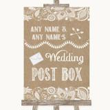 Burlap & Lace Card Post Box Customised Wedding Sign