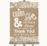 Burlap & Lace Cards & Gifts Table Customised Wedding Sign