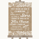 Burlap & Lace Cheese Board Song Customised Wedding Sign