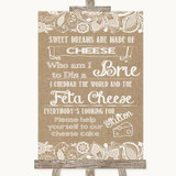 Burlap & Lace Cheesecake Cheese Song Customised Wedding Sign