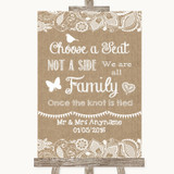 Burlap & Lace Choose A Seat We Are All Family Customised Wedding Sign