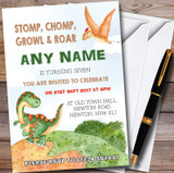 Watercolour Dinosaur Customised Children's Birthday Party Invitations