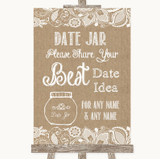 Burlap & Lace Date Jar Guestbook Customised Wedding Sign