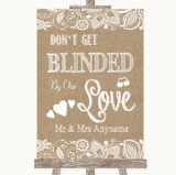 Burlap & Lace Don't Be Blinded Sunglasses Customised Wedding Sign