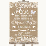 Burlap & Lace Don't Post Photos Online Social Media Customised Wedding Sign