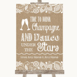 Burlap & Lace Drink Champagne Dance Stars Customised Wedding Sign