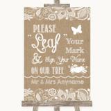 Burlap & Lace Fingerprint Tree Instructions Customised Wedding Sign