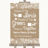 Burlap & Lace Friends Of The Bride Groom Seating Customised Wedding Sign