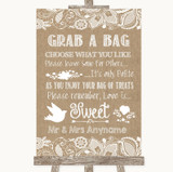 Burlap & Lace Grab A Bag Candy Buffet Cart Sweets Customised Wedding Sign