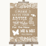 Burlap & Lace Guestbook Advice & Wishes Mr & Mrs Customised Wedding Sign