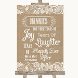 Burlap & Lace Hankies And Tissues Customised Wedding Sign