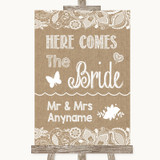 Burlap & Lace Here Comes Bride Aisle Sign Customised Wedding Sign