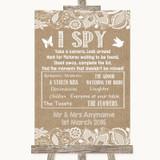 Burlap & Lace I Spy Disposable Camera Customised Wedding Sign