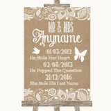 Burlap & Lace Important Special Dates Customised Wedding Sign