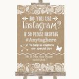 Burlap & Lace Instagram Photo Sharing Customised Wedding Sign