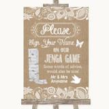Burlap & Lace Jenga Guest Book Customised Wedding Sign