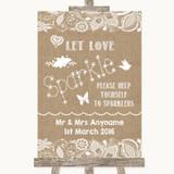Burlap & Lace Let Love Sparkle Sparkler Send Off Customised Wedding Sign