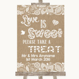Burlap & Lace Love Is Sweet Take A Treat Candy Buffet Customised Wedding Sign
