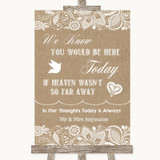 Burlap & Lace Loved Ones In Heaven Customised Wedding Sign