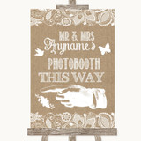 Burlap & Lace Photobooth This Way Left Customised Wedding Sign