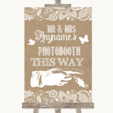 Burlap & Lace Photobooth This Way Right Customised Wedding Sign