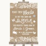 Burlap & Lace Plant Seeds Favours Customised Wedding Sign