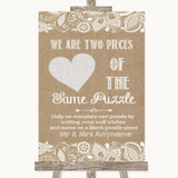 Burlap & Lace Puzzle Piece Guest Book Customised Wedding Sign