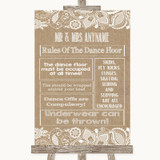 Burlap & Lace Rules Of The Dance Floor Customised Wedding Sign