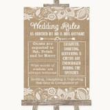Burlap & Lace Rules Of The Wedding Customised Wedding Sign