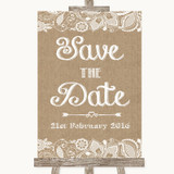 Burlap & Lace Save The Date Customised Wedding Sign