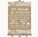 Burlap & Lace Signature Favourite Drinks Customised Wedding Sign