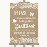 Burlap & Lace Take A Moment To Sign Our Guest Book Customised Wedding Sign
