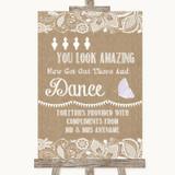 Burlap & Lace Toiletries Comfort Basket Customised Wedding Sign