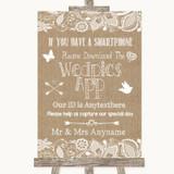 Burlap & Lace Wedpics App Photos Customised Wedding Sign