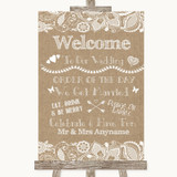 Burlap & Lace Welcome Order Of The Day Customised Wedding Sign