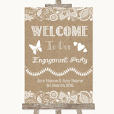 Burlap & Lace Welcome To Our Engagement Party Customised Wedding Sign