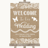 Burlap & Lace Welcome To Our Wedding Customised Wedding Sign